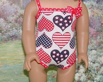 Red White and Blue Tank Style Bathing Suit for American Girl