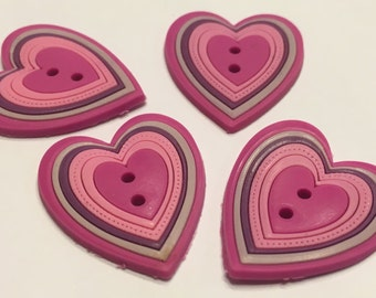 4 rubber heart buttons, 22 x 25 mm (18)