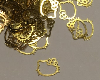 100 pieces of gold metal Hello Kitty nail decor, 6 mm (S10)