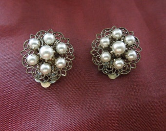 Vintage German Earrings.  Filigrees with Pearl Cluster.  Clip On Type.  Signed West Germany.