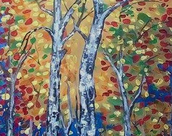 Original Abstract Painting Acrylic - Woodland Trees Autumn Colorful - Forest Landscape -  Colorful Abstract Palette Knife - Made to order