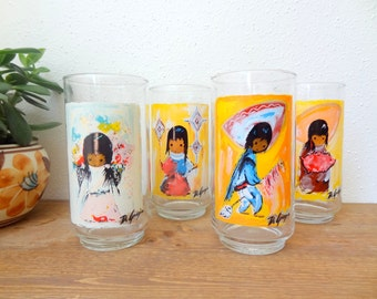 Vintage De Grazia Drinking/Tumbler Glasses-1960s- Southwestern/ Mexican Girl-Set Of 4