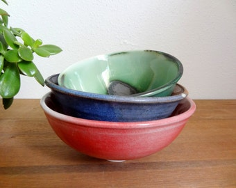 Set of 3 Jewel Toned Stacking Studio Pottery Bowls