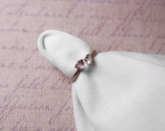 Double Heart Sterling Silver Ring with Purple and Clear Stones - Vintage