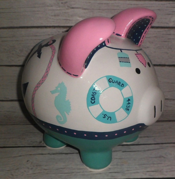 Large girl 39 s nautical artisan hand painted ceramic by alphadorable - Nautical piggy banks ...