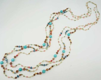 Multi color stone long necklace.