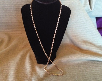 Vintage Goldtone Necklace with Rhinestone Design, Length 28''