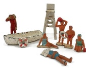 Beach Goers Painted Lead Figurines Girls in Swimsuits Volleyball Player Lifeguard Chair
