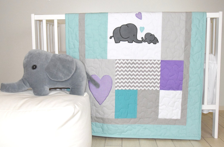 Elephant Baby Quilt Teal Gray Purple Crib Bedding Gray