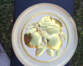 Vintage Two-Sided Fruitcake Tin, White and Gold Tin, Golden Pear Tin
