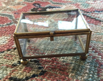 Vintage Brass and Glass Box- Brass and Glass Display Box