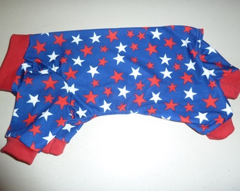 Small Summer Weight Yankee Doodle Doggie PJs, Doggy Onesies, Patriotic Pajamas, Red/White and Blue Jammies
