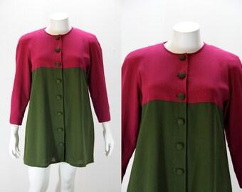 Plus Size Vintage Jacket Blazer Coat - Two Tone Mini Dress