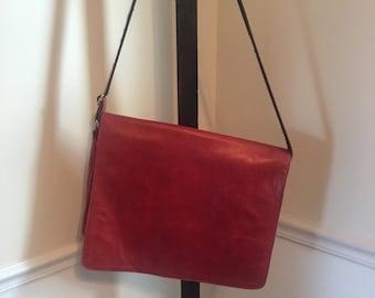 SALE Vintage Wilson red leather brief case bag / Red leather bag / laptop carrier / iPad case / red purse / lester bag / Document holder