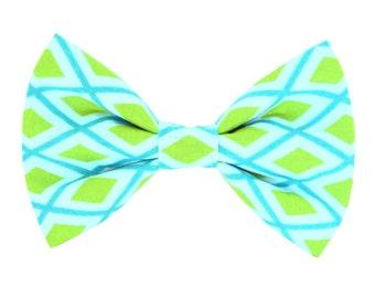 Aqua and Lime Plaid Dog Bow Tie; Plaid Collar Bow Tie: Geo Diamond