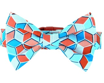 Aqua Blue Red Bow Tie Dog Collar; Colorful Dog Bow Tie and Collar: Cube