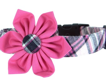 Pink Black Plaid Flower Dog Collar/ Flannel Dog Collar Flower Set: Lassie Flannel