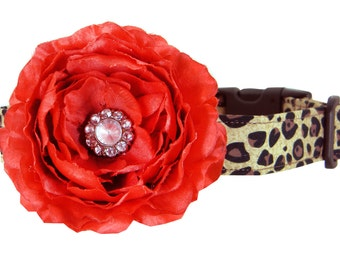 Cheetah Dog Collar Flower Set/ Red Flower Dog Collar: Cheetah in Red Rhinestone
