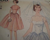 Vintage 1960's Simplicity 3958 Bridal and Bridesmaid Dress Sewing Pattern, Size 14, Bust 34