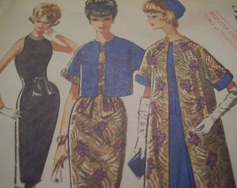 SALE  Vintage 1960's McCall's 6574 Pauline Trigere Dress and Reversible Coat or Jacket Sewing Pattern, Size 14, Bust 34