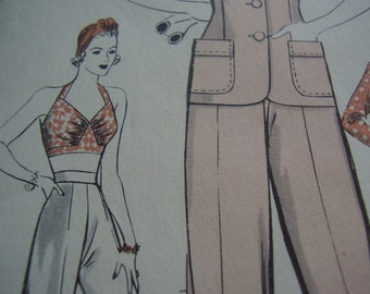 Vintage 1940's Hollywood Patterns 635 Wendy Barrie Bra-top, Jacket and Slacks Sewing Pattern, Size 14 Bust 32