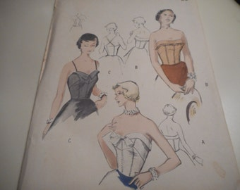 Vintage 1950's Butterick 5240 Bare-Top Sewing Pattern Size 12 Bust 30