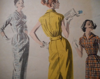 Vintage 1950's Butterick 8128 Dress Sewing Pattern, Size 12 Bust 32