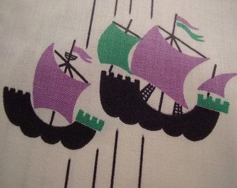 Vintage 1950's Ships Quilt Sewing Supply Cotton Fabric, 2 colors available