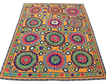 Suzani Vintage Suzani Old Embroidery Suzani Wall Hanging Uzbek Suzani Table Cover Ethnic Suzani 4.92' x 6.69' FAST SHIPMENT with ups - 08965
