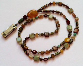 Brown and Blue Long Beaded Harmonica Necklace