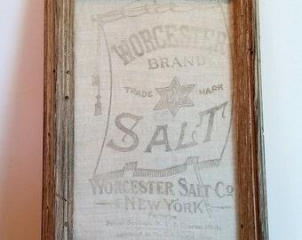 Antique Salt Bag Framed Art Vintage Linen
