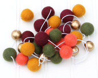 Autumn Felt Ball Garland with Gold, Pom Pom Garland, Fall Fun, Thanksgiving Decor, Fall Decor, Fall Garland, Thanksgiving Garland