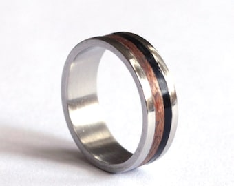 MensWedding Band, Mens Ring, Titanium Wedding Ring, Mens Wood Wedding Band, Titanium Mens Band With Ebony Inlay