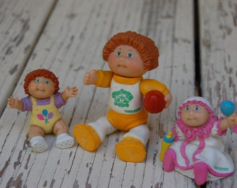 1984 Cabbage Patch figurines. 1984 Cabbage Patch rubber doll toys. Vintage Cabbage Patch toys
