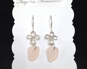 Pretty Pink Sea Glass Dangle Earrings - Sterling Silver - Pink Sea Glass Jewelry