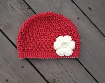 Little Girl Crochet Flower Hat- Red with Cream Flower and Trim, Baby girl hat, toddler girl hat