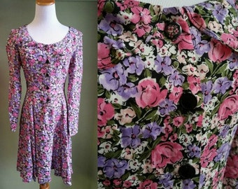 1990's Grunge Revival Dress - 90's Ditsy Floral Dress - Babydoll Dress - Small 80s 90s Dress -