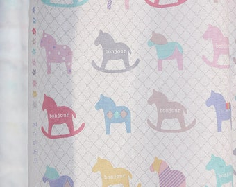Rocking Horse Cotton Fabric, Wooden Horses, Pastel Horses - By the Yard 89069