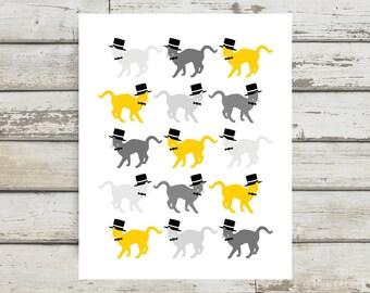 Cats Wearing Hats, Cat Hat, Cat, Cat Print, Cat Poster, Cat Art, Kitten Poster, Kitty, Kitten Art, Kitten Wall Decor, Cat Gift, Cat Artwork