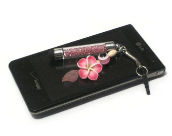 Pink Crystal Mini Stylus Charm, Floral Clay Beaded Cell Phone Charm, Evil Eye Stylus Beaded Charm, Cell Phone Dust Plug, Tablet Stylus