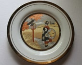 Art of Chokin Porcelain Plate - Geisha with Umbrella - Vintage - 24kt Gold - Japan - Collectibles- Wall Decor - Asian Art - Wall Art- Kimono