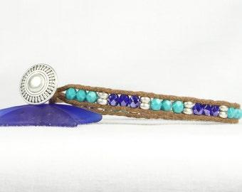 Boho bracelet, Single wrap bracelet, Turquoise and blue beads, Heishi beads, CarolMade Sw22