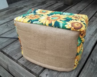 Sunflower Toaster Cover Burlap Country Flowers Rustic Quilted Lined