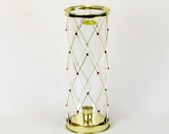 Glass and Brass Candle Holder Lantern with Multicolored Faux Gem Stones - Diamond Shapes - Vintage Home Lighting Decor