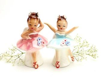 Vintage Josef Originals Ballerina Salt Pepper Shakers, Rhinestones, MINT, Ballet Angels Dancesrs, Josef Ballerina Girl Figurines, Epsteam