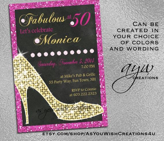 High Heels Birthday Party Invitation Printable Invitation Elegant