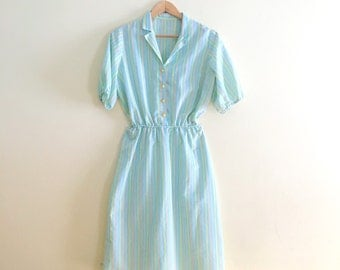 Vintage Pastel Diner Style Dress / Mint Candy Striped Shirt Dress / Day Dress / Shirtwaisted Dress / Retro 50s Style Dress / 80s