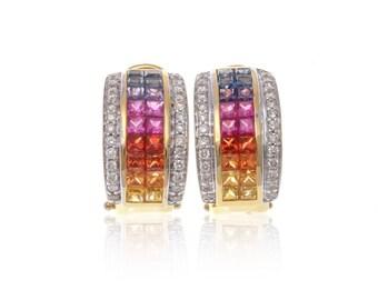 Multicolor Rainbow Sapphire & Diamond 18K Gold Earrings (3.10ct tw): SKU 22047