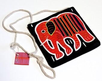 Elephant Mola Purse Vintage Cuna Indian Textile Crossbody Handmade Reverse Applique Pouch Central America Kuna Art Bag itsyourcountryspirit