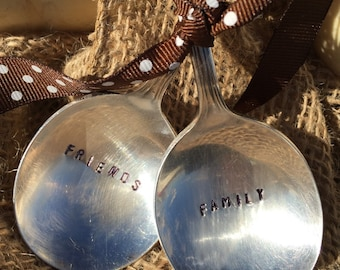 Hand Stamped Silver Plate Spoons- Perfect for your Holiday Table